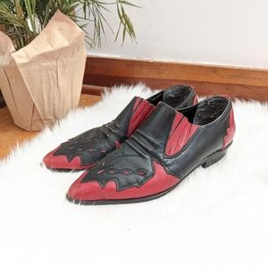 Vtg Red/Black Leather Western Pointed Toe Loafers